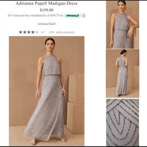 New Adrianna Papell Beaded Dress Silver Size 2